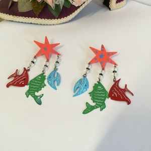 One of a Kind Vintage Fish Dangle Earrings